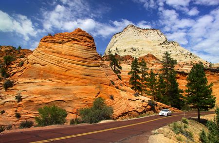 Scenic drive in Zion national park Imagens