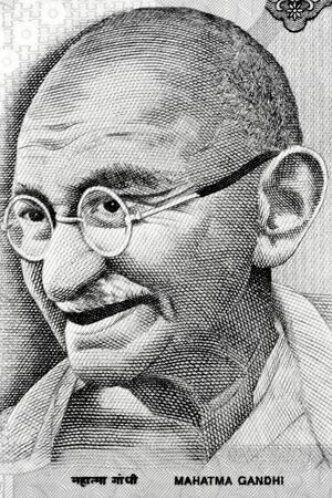 lithograph: Gandhi on Rupee note Stock Photo