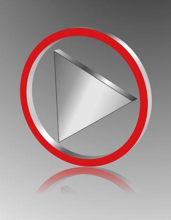 shinning: Metallic play icon Stock Photo