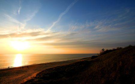 Sun set over lake Michigan Stock Photo - 6222789