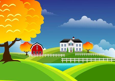 Scenic farm landscape photo