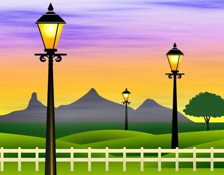 lamp post: Romantic landscape