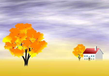 Scenic autumn landscape photo