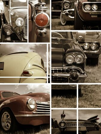 car grill: Classic car collage