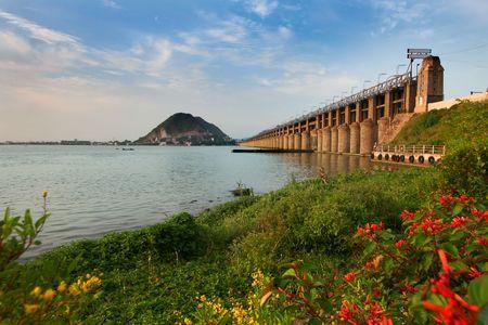 barrage: Prakasam Barrage bridge Stock Photo