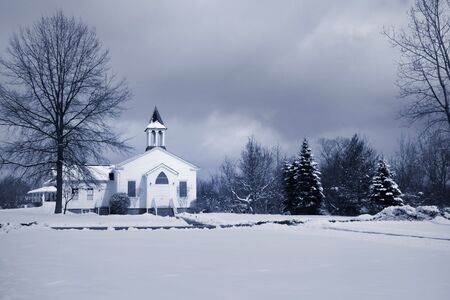 country church: Winter landscape Stock Photo