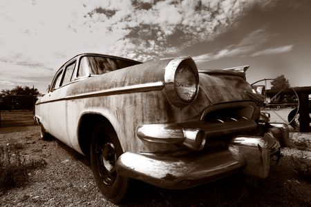 abandoned car: Old abandoned classic car Stock Photo
