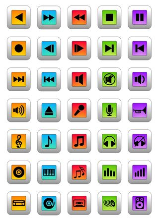 pause button: Musical icons Stock Photo