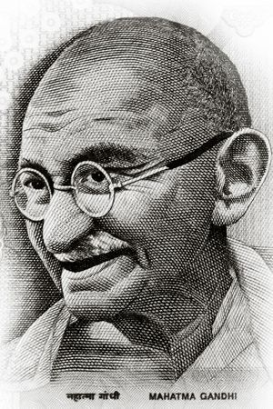 Close up shot of Gandhi on rupee note photo
