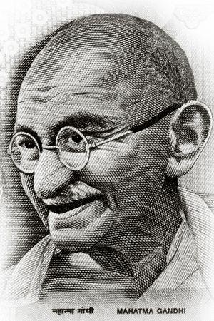 rupee: Close up shot of Gandhi on rupee note Stock Photo