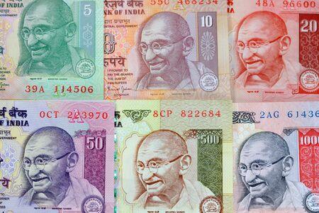 Gandhi on rupee notes Banco de Imagens