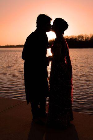 Couple kissing photo