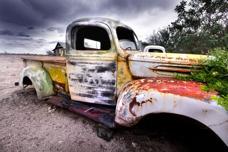 abandoned car: Old rustic truck
