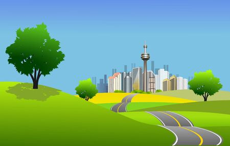 Scenic city scape and high way Stock Photo - 7029052