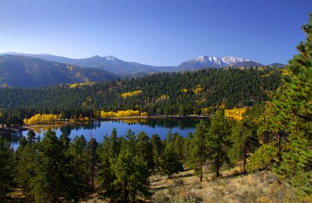 Scenic landscape in Rocky mountains photo