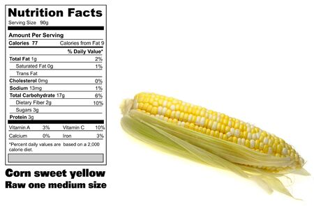 Nutritional facts of one medium whole corn ear raw Stock Photo - 7230843