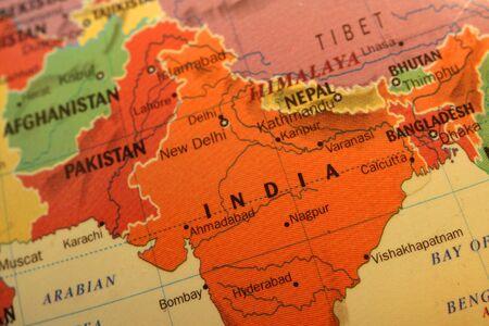 mapa conceptual: Mapa de India colorido  Foto de archivo