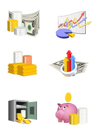 An illustration of 3d colorful finance icons
