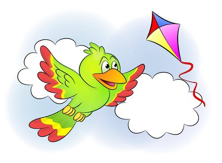 An illustration of cute bird and kite in the sky illustration