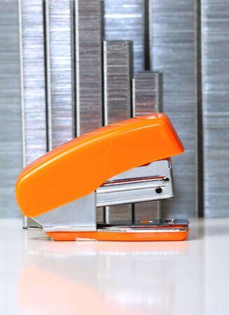 office stapler: Stapler and staples Stock Photo