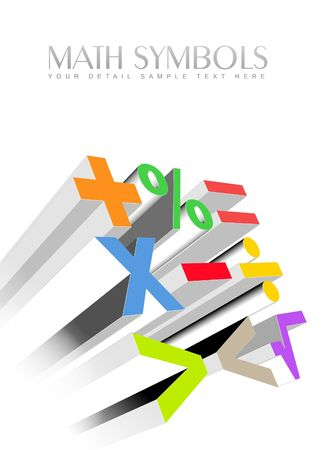 metallic background: An illustration of 3d colorful math symbols Stock Photo