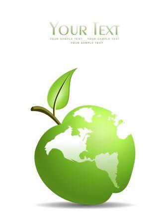 Una ilustración de manzana verde incrustado con la tierra  Foto de archivo - 7955278