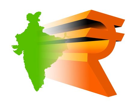 New 3d Indian rupee symbol on India map Stock Photo