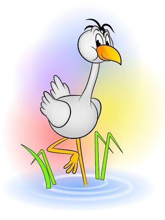 An illustration of cute crane bird cartoon illustration