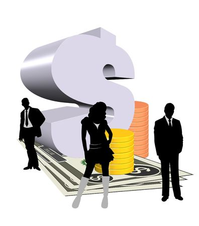 3d dollar symbol and notes with silhouette of business people photo