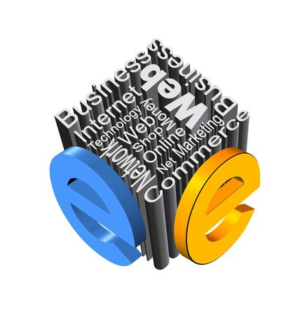 An illustration of metallic e-business concept
