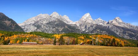 Grand tetons national park in Autumn time photo