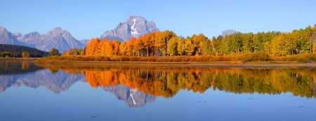 Scenic landscape of Grand tetons national park from Oxbow bend photo