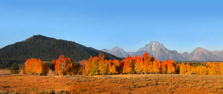 Panoramic view of Grand Tetons national park photo