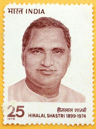 INDIA - CIRCA 1976: A stamp printed in India (present time India) shows Hiralal Shastri , Circa 1976