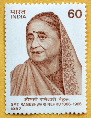 INDIA - CIRCA 1989: A stamp printed in India (present time India) shows Smt Rameshwari Nehru , Circa 1987 Stock fotó