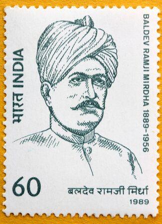 indian postal stamp: INDIA - CIRCA 1989: A stamp printed in India (present time India) shows Baldev Ramji Mirdha , Circa 1989