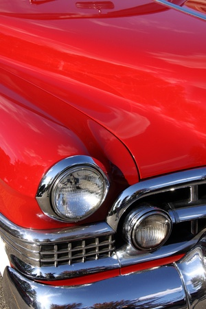 Classic car with close up shot front right view photo