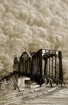 Old rustic train bridge in Allegheny national forest photo