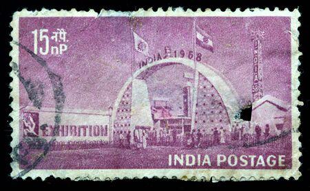 INDIA - CIRCA 1958: A stamp printed in India (present time India) shows Exhibition Gate, New Delhi,, circa 1958 Stock fotó