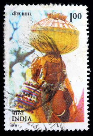 INDIA - CIRCA 1981: A stamp printed in India (present time India) shows BHIL, Tribes of India, circa 1981
