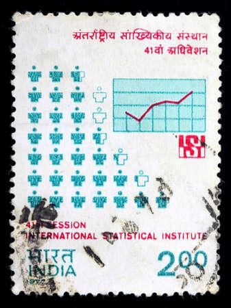 INDIA - CIRCA 1977: A stamp printed in India (present time India) shows international statistical institute, circa 1977 Stock fotó