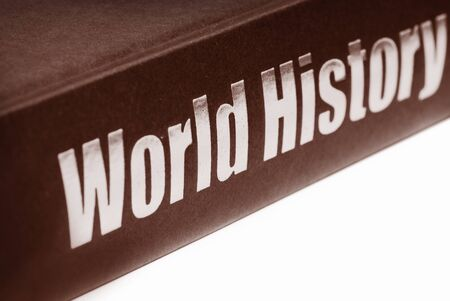 history: antique world history book isolated on white background