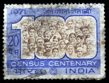 centenary: INDIA - CIRCA 1971: A stamp printed in INDIA (present time India) shows Census Centenary circa 1971