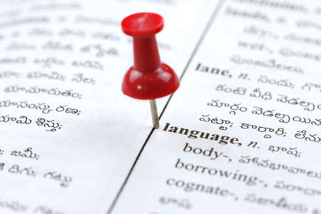 paper pin: Close up shot of language word on dictionary with Telugu text
