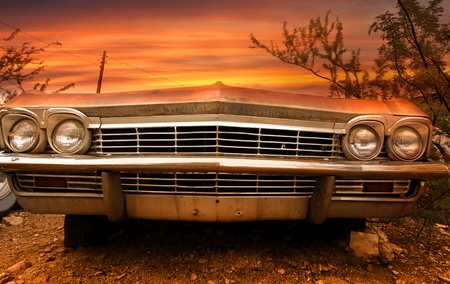 vintage cars: Wide angle shot of old classic car front end