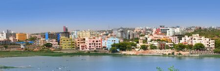 south india: Panoramic view of an Indian city Hyderabad
