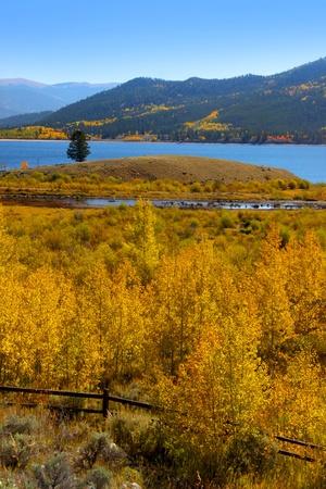 Autumn landscape in Rocky mountains of Colorado photo
