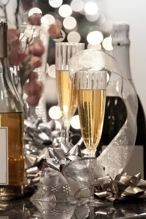 Party table with Champaign ,Wine and Christmas decoration photo