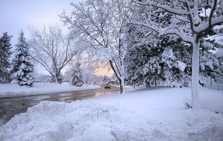 Wet road through snowy winter landscape  in Michigan