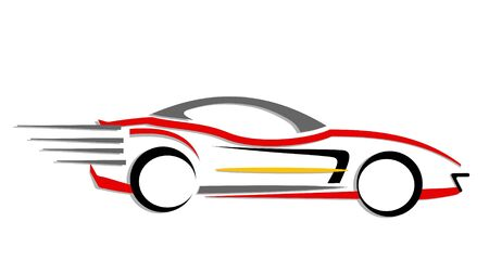 An illustration of fast moving car made with line art